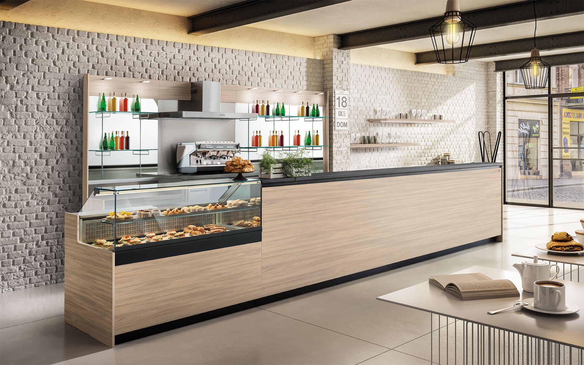 Linearità e proporzione estetica permetteranno di soddisfare ogni gusto e tendenza per Banco bar con espositore per dolci e salati e tutte le altre vostre esigenze.