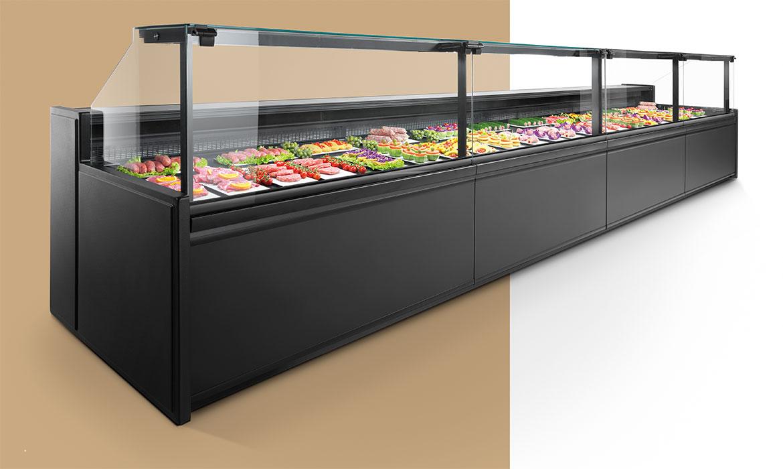 Il banco alimentare Promoter è l'attrezzatura professionale ad alta tecnologia studiata per gastronomia, salumeria, e negozi di pasta fresca