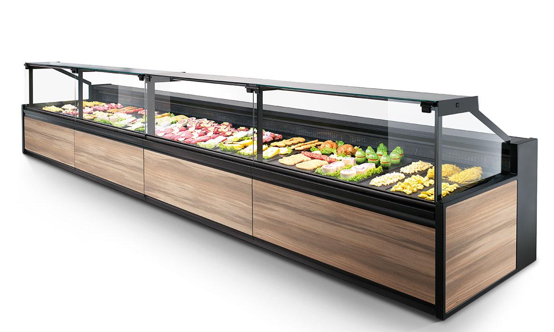 Il banco alimentare Vega è la vetrina refrigerata professionale ad alta tecnologia studiata per macelleria e negozi di alimentari.