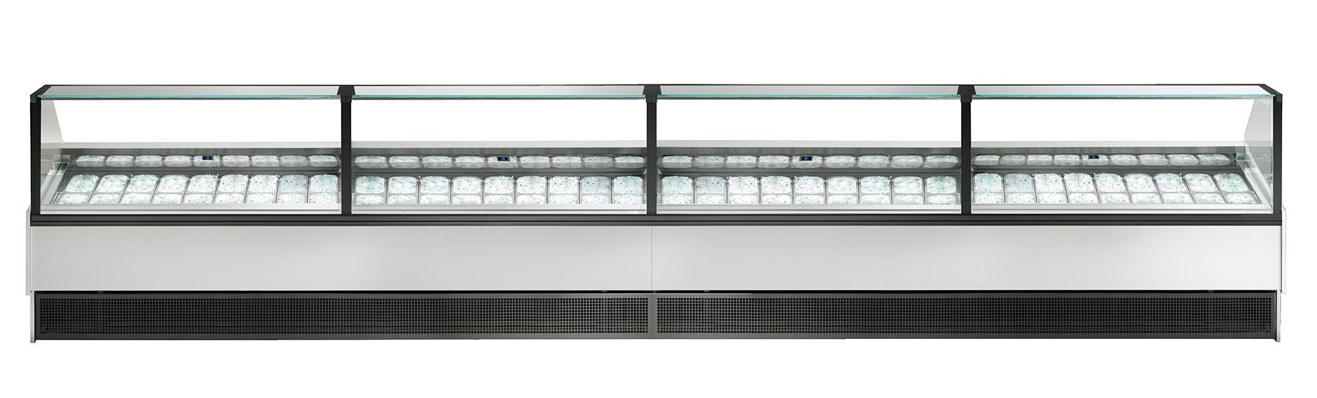 MISS è una vetrina professionale per gelateria e pasticceria, un'estetica minimale personalizzabile in una vasta gamma di colori e materiali.