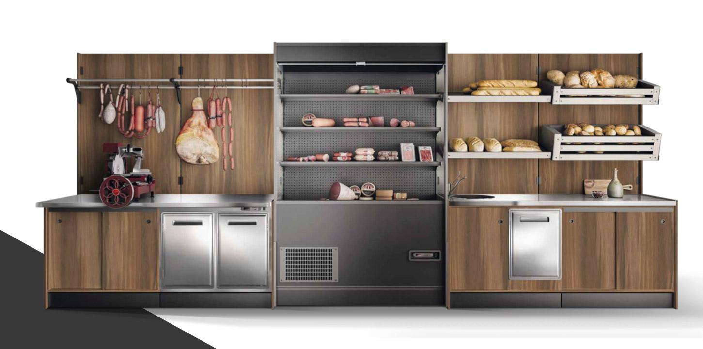 FOOD è un sistema completo di banchi refrigerati e retrobanchi attrezzati, scaffali ed espositori per l'arredamento specifico di negozi per generi alimentari, panetterie, ortofrutta ed enoteche.